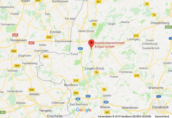 Karte, Autolackierwerkstatt Erikjan GmbH